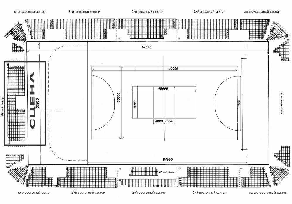 Схема зала Харьковског Дворца