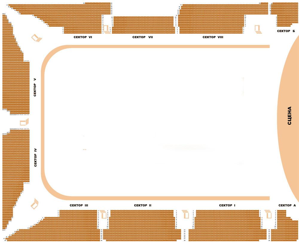 Схема зала дворца спорта нагорный